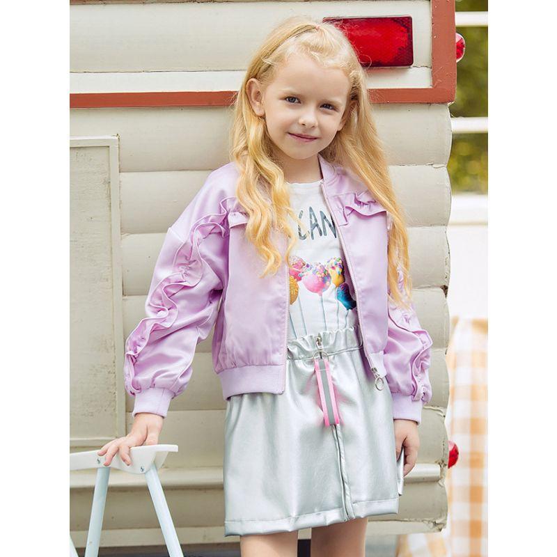 Spring Little Big Girl Purple Ruffled Causal Jacket Coat