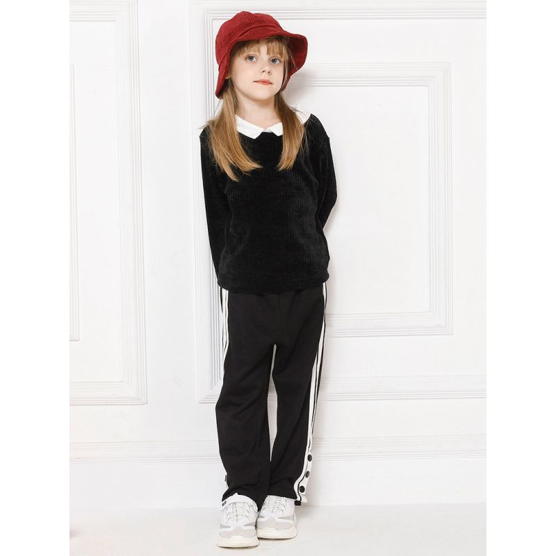 Black & White Color-blocking Little Big Girl Casual Pants Spring Sports Pants