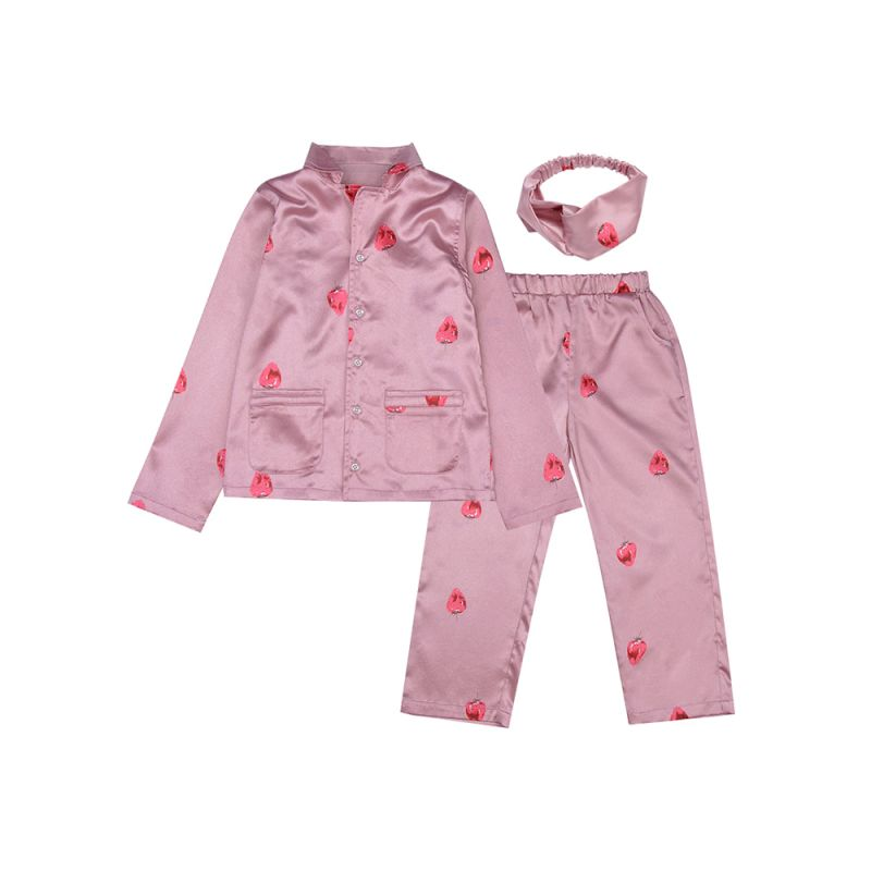 3-piece Little Big Girl Homewear Pajamas Set Strawberry Shirt+Pants+Headband