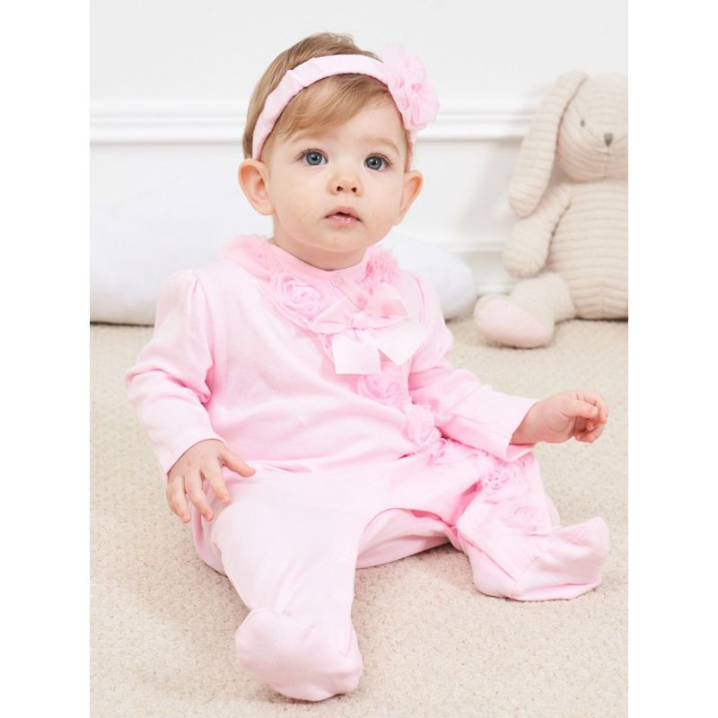 Flower Bowknot Trimmed Newborn Infant Girl Pink Cotton Footed Overalls Jumpsuit with Headband