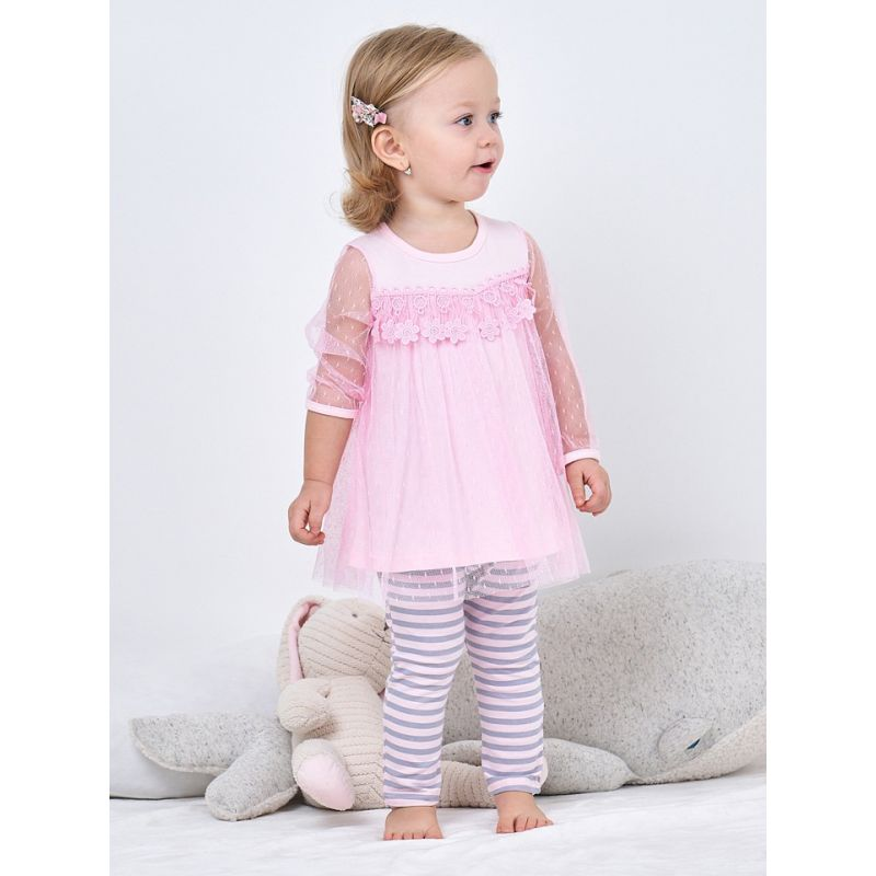 2-piece Spanish Style Infant Girl Spring Clothing Outfits Set Pink Flower Mesh Dress Top+Striped Leggings