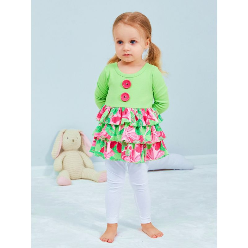 Infant Little Girl Color-blocking Buttoned Spring Cotton Ruffled One-piece Dress