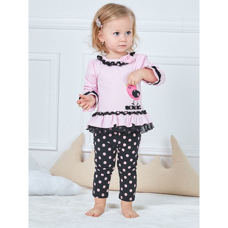 2-piece Baby Girl Spanish Style Clothes Outfits Set Flower Bird Ruffled Blouse Top+Polka Dots Leggings