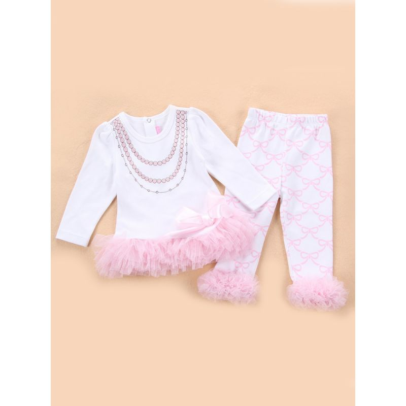 2-Piece Spanish Style Baby Clothes Outfits Set Tulle Ruffled-hem T-shirt Top+Bowknot Pants