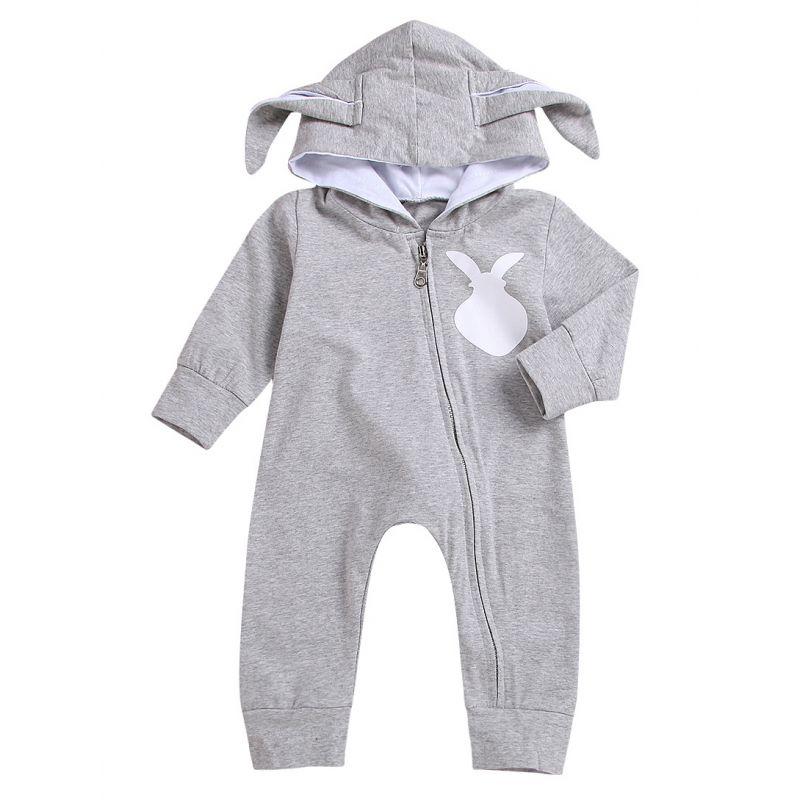 Cute Bunny Style Newborn Baby Jumpsuit Spring Zip Overalls