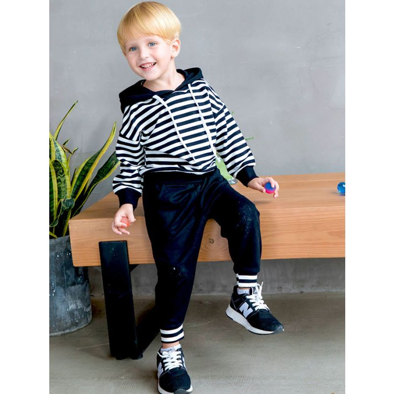 2-piece Baby Toddler Big Boys Casual Cotton Tracksuit Striped Hoodie+Solid Color Sports Pants