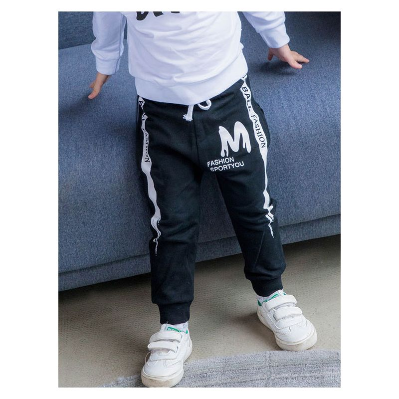 Baby Little Kids Casual Cotton Letters Print Jogger Pants Children Spring Sports Pants with Drawstring