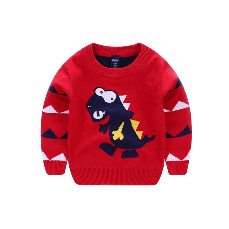 Dinosaur Crochet Cotton Jumper Toddler School Boys Knitted Sweater