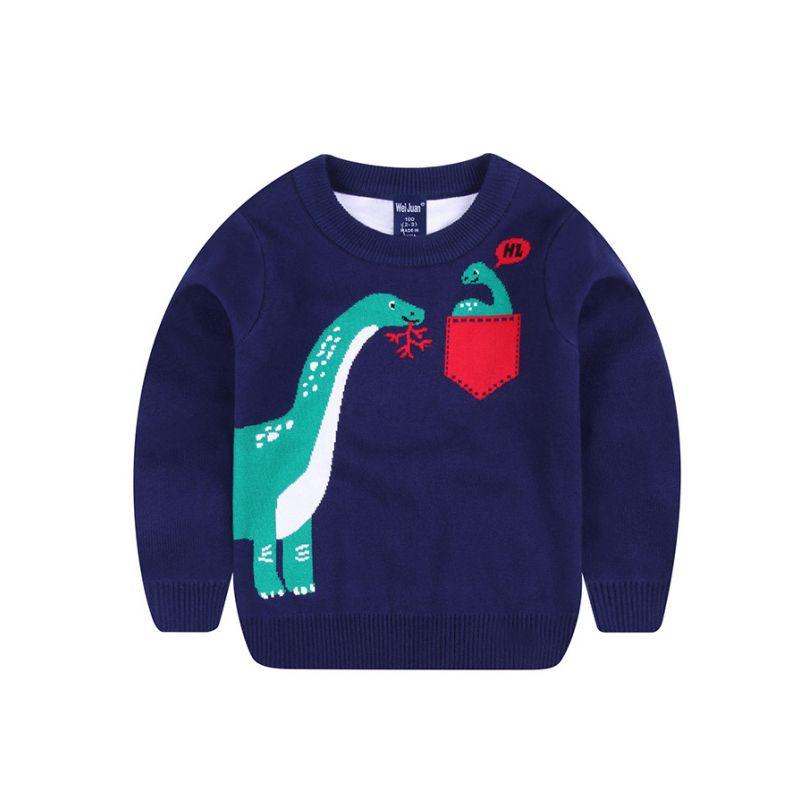 Dinosaur Crochet Cotton Sweater Toddler School Boys Knitted Jumper Sweatshirt