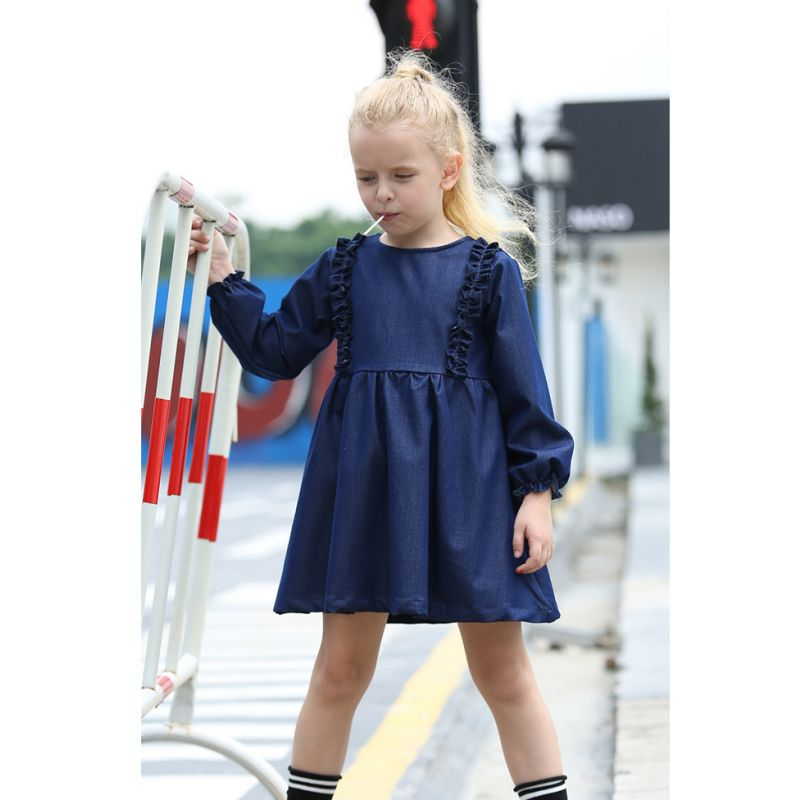 Toddler Big Girl Spring Ruffled Denim Casual Shift Dress