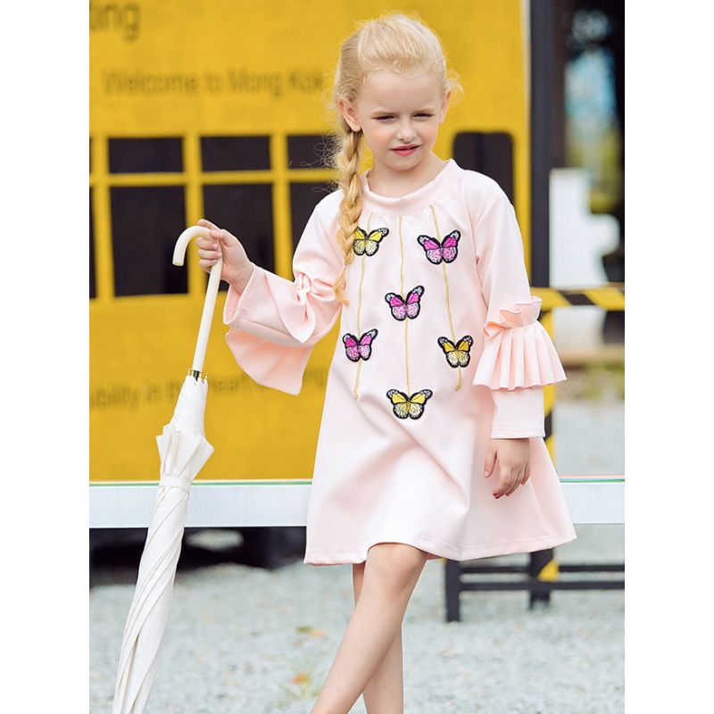 Stylish Little Big Girl Flutter Sleeve Butterfly Casual Shift Dress for Spring