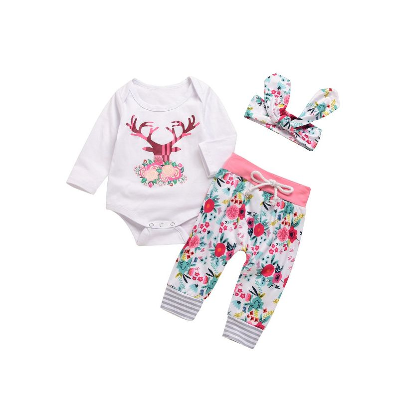 3-piece Baby Girl Christmas Clothes Outfits Set Reindeer Bodysuit+Flower Jogger Pants+Floral Bow Headband