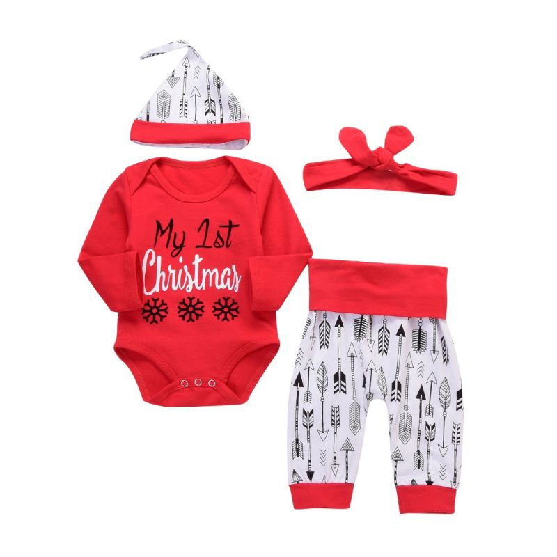 3-piece Infant Girl Christmas Outfits Set My 1st Christmas Romper+Arrow Pants+Red Headband