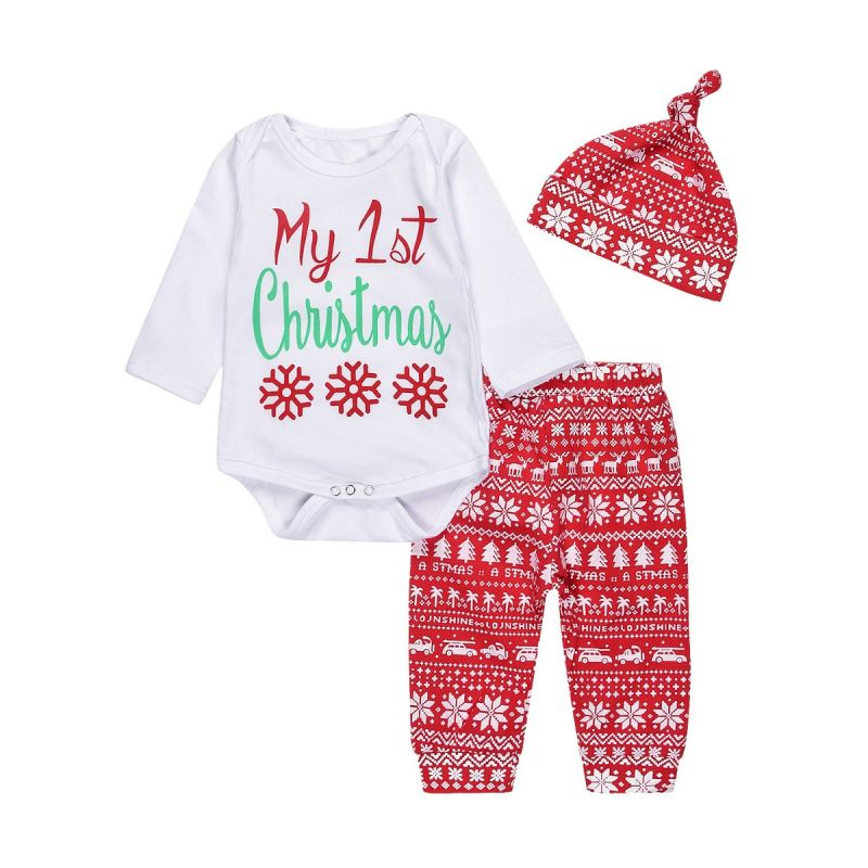 3-piece Baby Christmas Clothing Oufits Set My 1st Christmas Bodysuit+Christmas Theme Pants+Hat