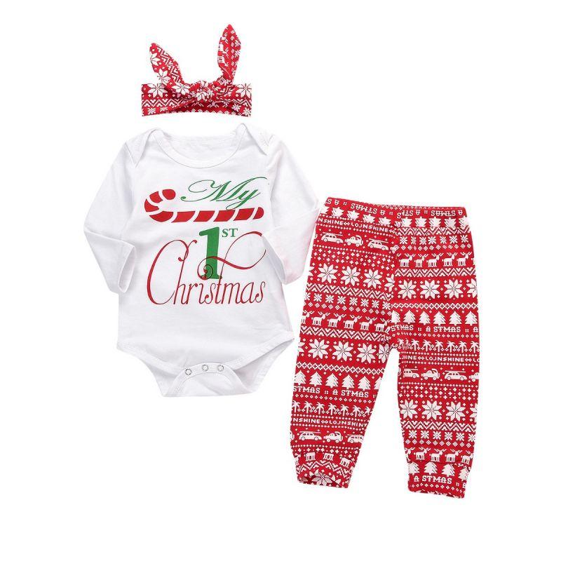 3-piece Baby Girl Christmas Clothing Outfits Set My 1st Christmas Onesie+Christmas Theme Pants+Headband