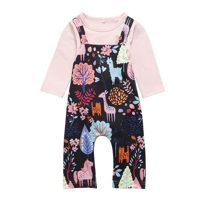 2-piece Baby Onesie Pants Outfits Set Pink Onesie+Cartoon Bib Overalls