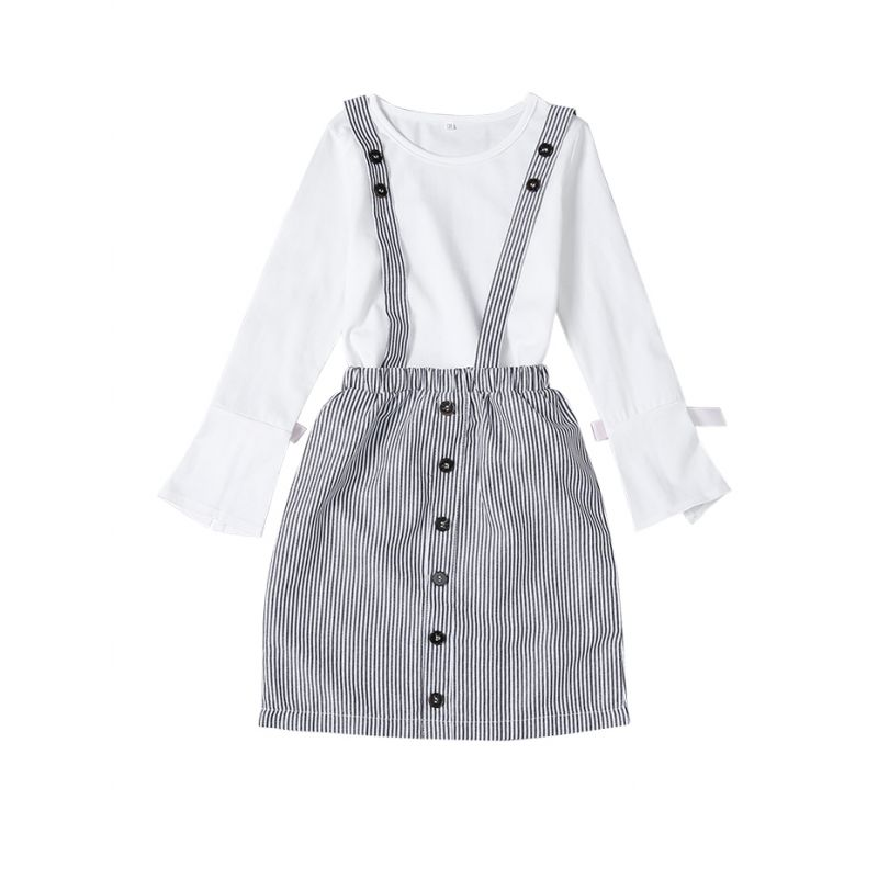 2-piece School Girl Casual Outfits Set White Pullover+Vertical Striped Buttoned Suspender Skirt