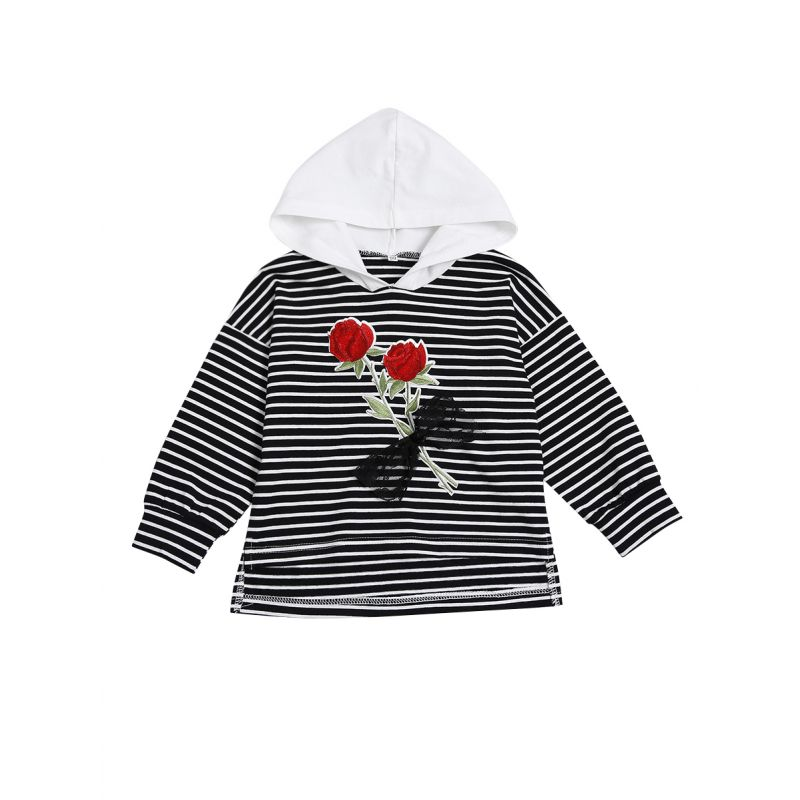 Rose Striped Infant Little Girl Hoodie Causal Sweatshirt