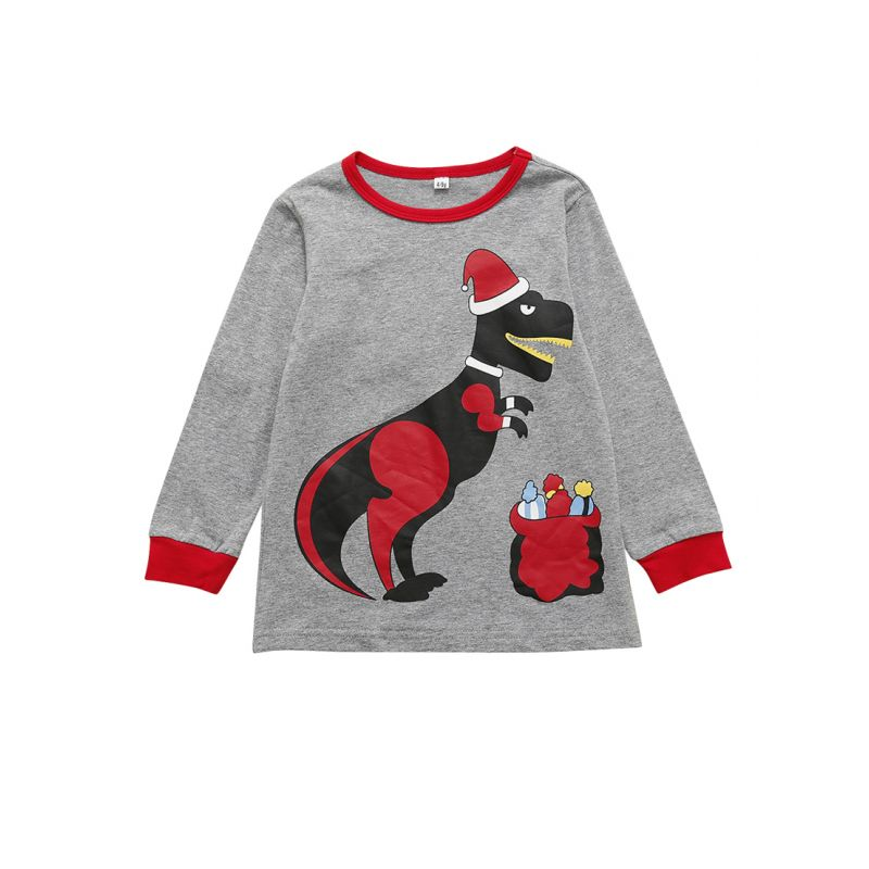 Little Big Girl Cartoon Print Christmas Casual Sweatshirt School Kids Pullover