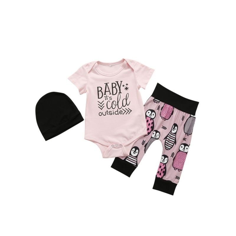 3-piece Infant Girl Summer Clothes Outfits Set BABY IT'S COLD OUTSIDE Short Sleeve Bodysuit+Penguin Pants+Black Hat