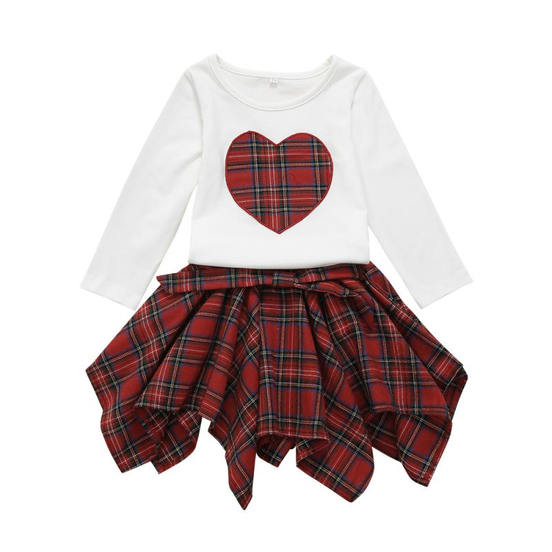 2-piece Baby Little Girl Causal Clothes Outfits Set Love Heart Pullover+Checked Bow Asymmetrical Hemline Skirt
