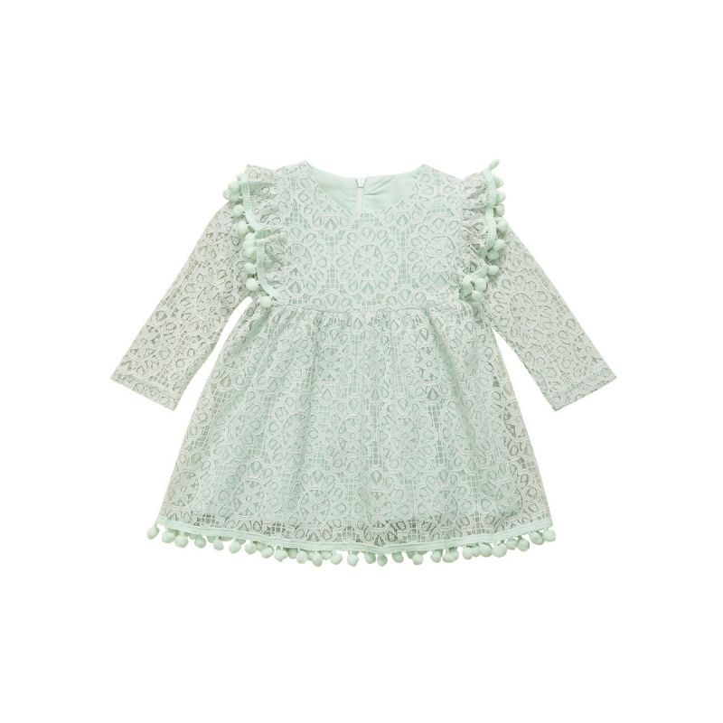 Spanish Style Floral Pom Pom Trimmed Flutter Sleeve Baby Little Girl Causal Green One-piece Dress