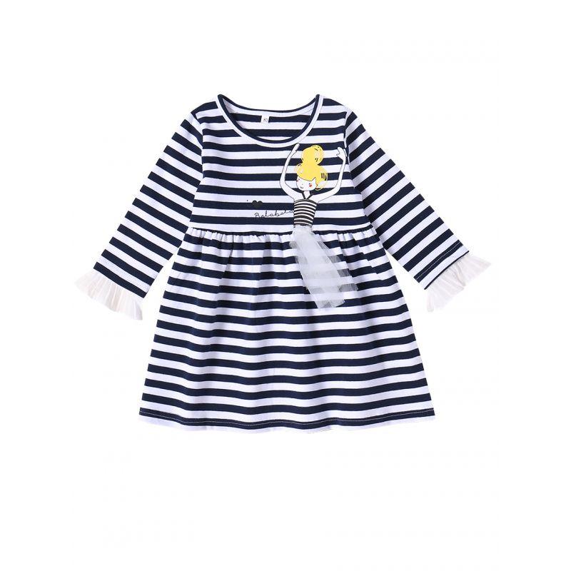Ruffled-cuff Striped Cartoon Infant Little Girl Causal Shift Dress