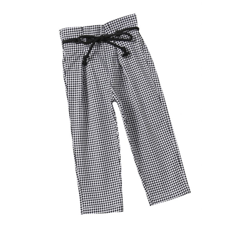 Fashion Plaid Baby Little Girl Causal Long Pants with String