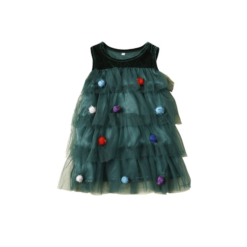 Colorful Pom Pom Trimmed Tulle Sleeveless Dress Baby Toddler Girl Christmas Party Dress