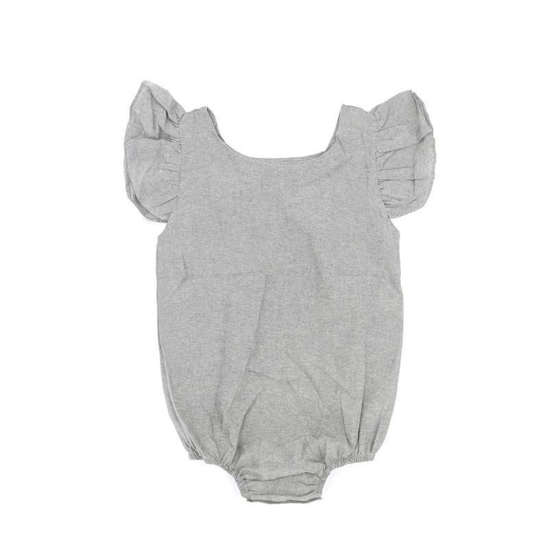 Infant Girl Solid Color Flutter Sleeve Summer Onesie Bodysuit