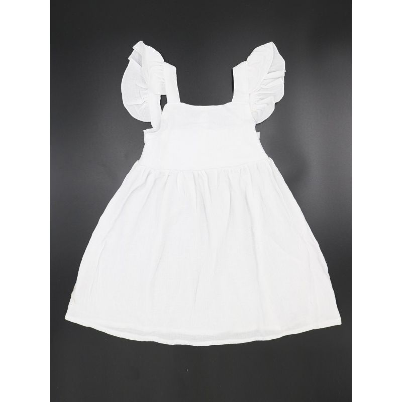 Infant Little Girl Black/White Flutter Sleeve Summer Casual One-piece Dress
