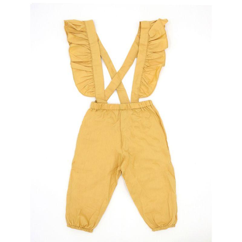 Baby Little Girl Ruffled Yellow Suspender Pants for Spring Summer