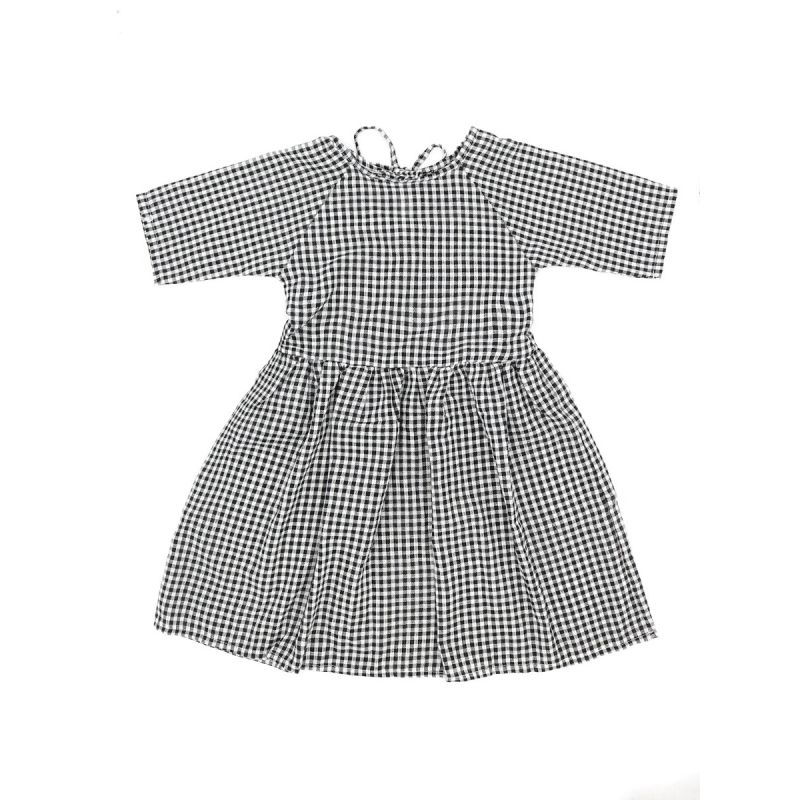 Infant Big Girl Black & White Plaid Summer Casual Shift Dress