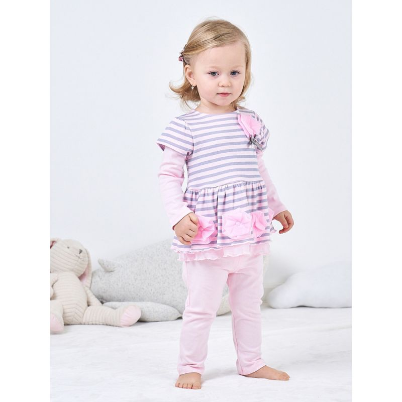 2-piece Baby Girl Spanish Style Clothing Outfits Set Flower Striped Dress Top+Pink Leggings