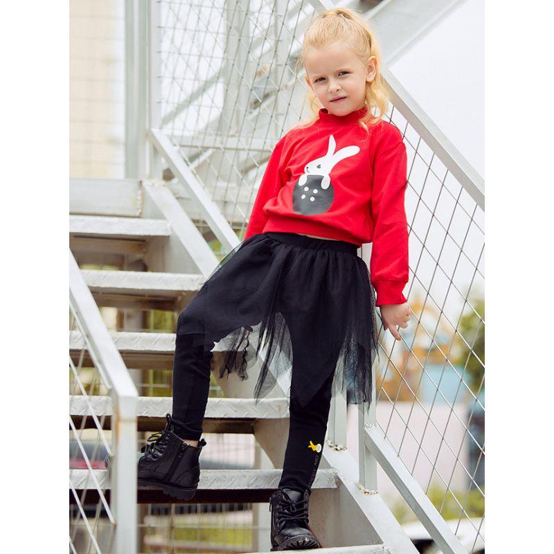 Fashion Tulle Patchwork Black Culottes Leggings Pants Little Big Girl Spring Legging Skirt Pantskirt