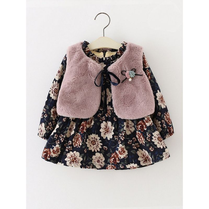 2-Piece Infant Girl Winter Clothes Outfits Set Floral Fleece-lined Zip Shift Dress+ Solid Color Warm Faux Fur Sleeveless Vest Coat