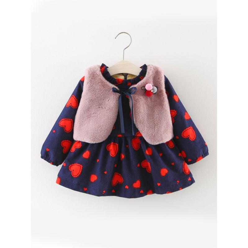 2-Piece Baby Girl Winter Dress Outfits Set  Love Heart Fleece-lined Zip Ruffled Dress+Warm Faux Fur Sleeveless Waistcoat Jacket