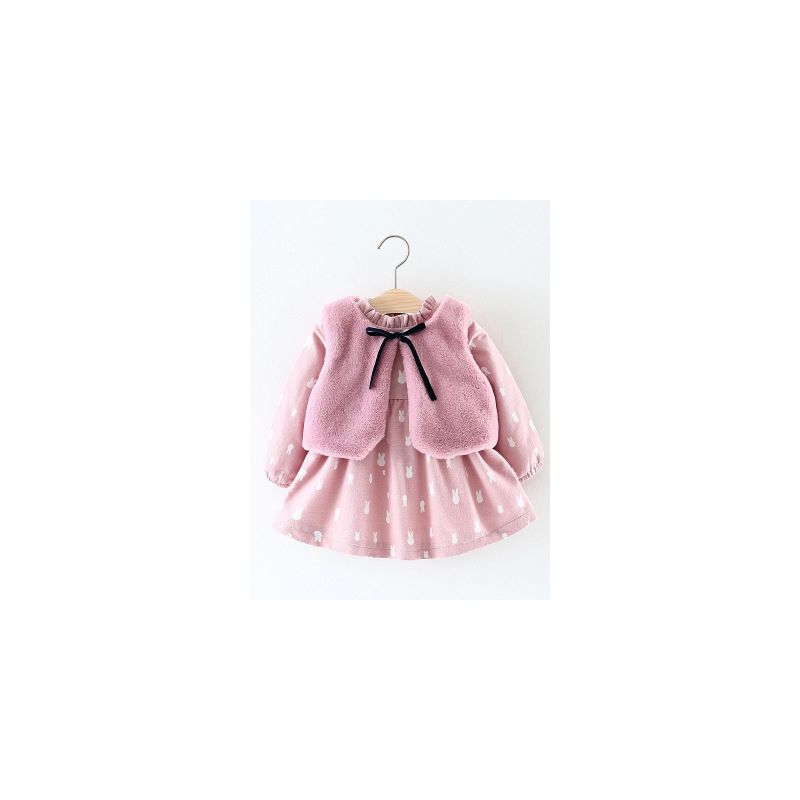 2-Piece Spanish Style Infant Girl Winter Pink Clothes Outfits Set Bunny Fleece-lined Princess Dress+ Fake Fur Sleeveless Jacket