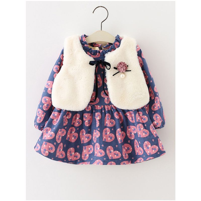 2-Piece Baby Girl Winter Dress Outfits Set Love Heart Fleece-lined Ruffled Dress+White Faux Fur Sleeveless Vest