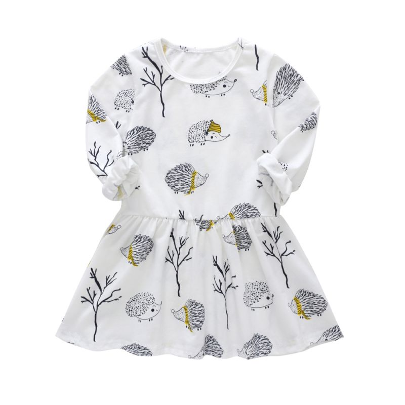 Hedgehog Baby Little Girl Spring Casual One-piece Dress