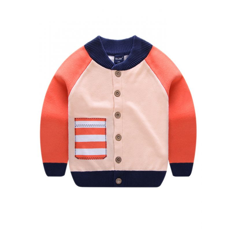 Toddler Big Boys Girls Color Blocking Crochet Cardigan Kids Knitwear