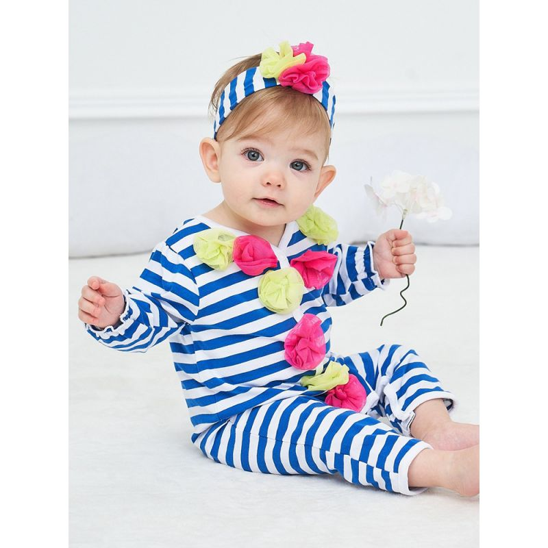 Newborn Baby Girl Flower Trimmed Striped Jumpsuit Overalls with Headband