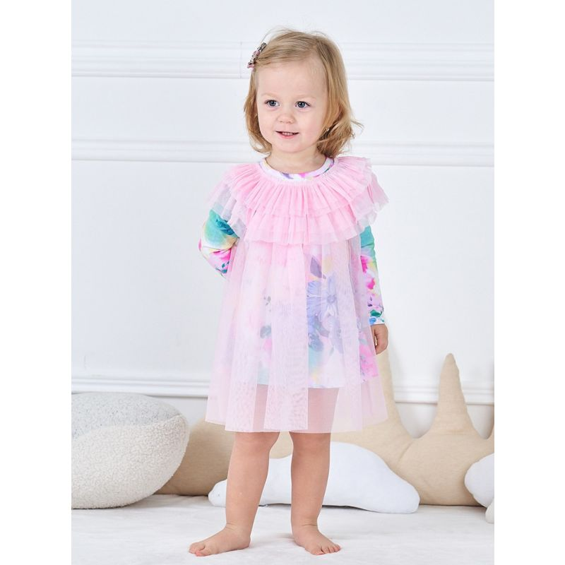 Spanish Style Baby Girl Mesh Floral Dress for Spring