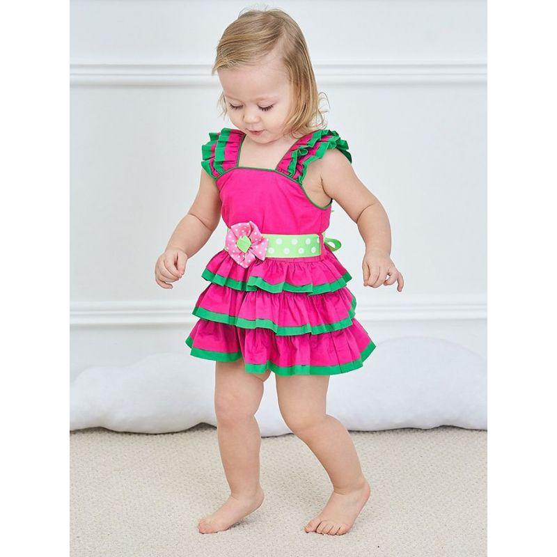 Color Blocking Newborn Baby Girl Sleeveless Dress for Summer