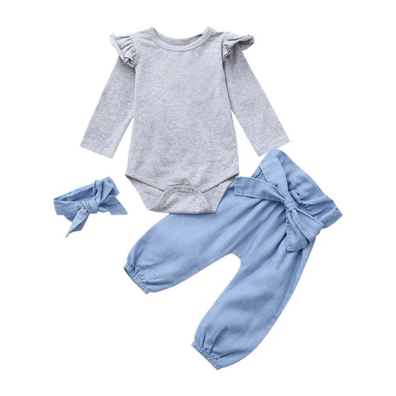 3-piece Baby Girl Spring Casual Clothes Outfits Set Flutter Sleeve Grey Bodysuit+Big Bow Blue Pants+Headband