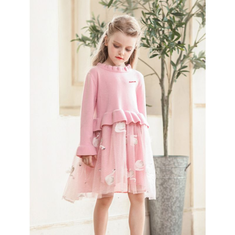 Loose Fitting Pineapple/Swan Toddler Big Girl Tulle Patchwork Ruffled Collar Casual Princess Dress for Spring