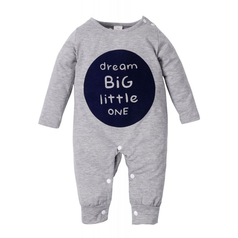 DREAM BIG LITTLE ONE Buttoned Baby Jumpsuit Unisex Infant Overalls