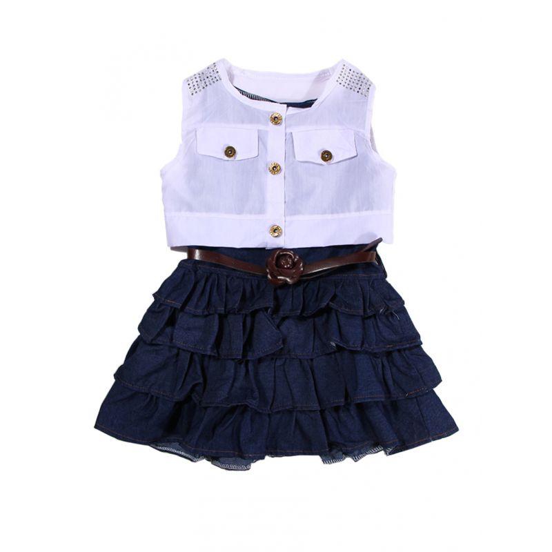 3-piece Fashion Baby Little Girl Summer Casual Dress Outfits Set Sleeveless Ruffled Denim Dress+White Vest Coat+Flower Belt