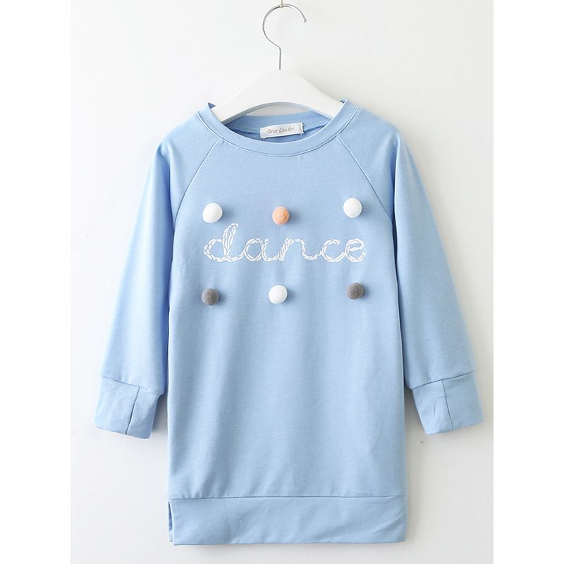 Little Big Girl Spring Dance Print Casual Pom Pom Shift Dress Blue/Pink