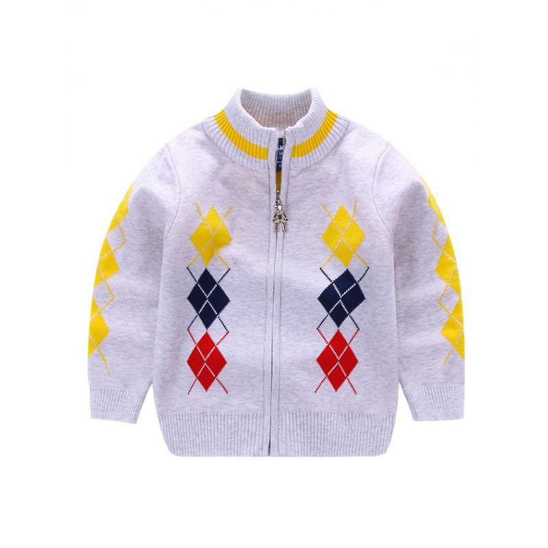 5-PACK Toddler Big Boys Rhombus Crochet Cardigan Kids Knit Zip Jacket Coat
